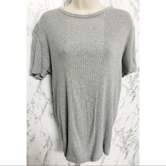 NWOT DKNY Grey Knitted Short Sleeve Top