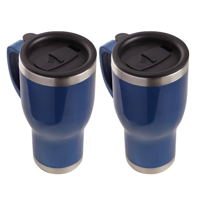 NEW 2 pak heated stainless travel mugs