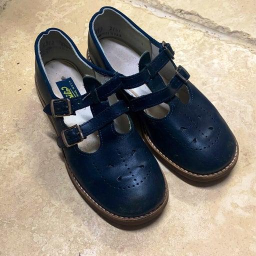 Girls Leather Mary Jane Tstrap Navy Shoe