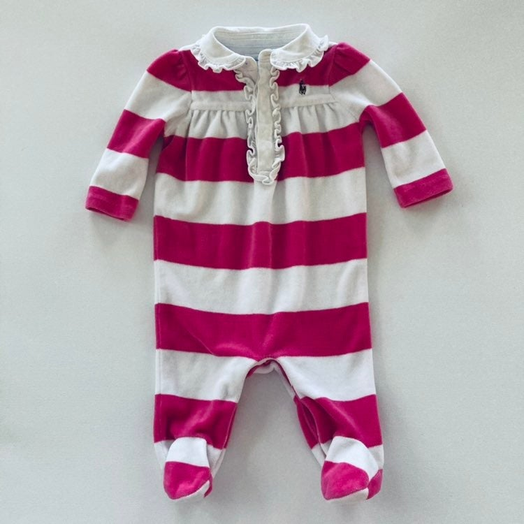 Ralph Lauren Baby Girl Pink Polo Footie
