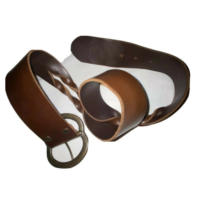 Candies Twisted Brown Leather Belt, Med
