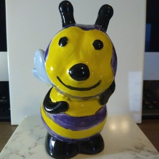 Purple/Yellow Bumblebee Piggy Bank.