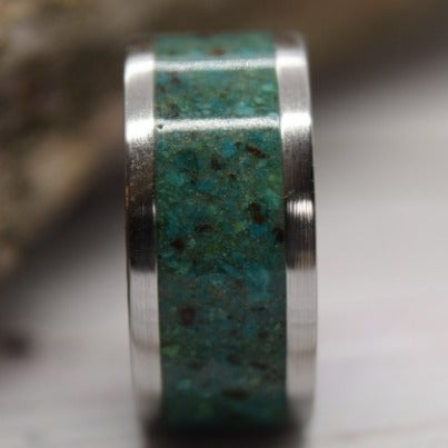 Stainless Steel m, Chrysocolla Inlay Ring, Ready To Ship, Size 6.5