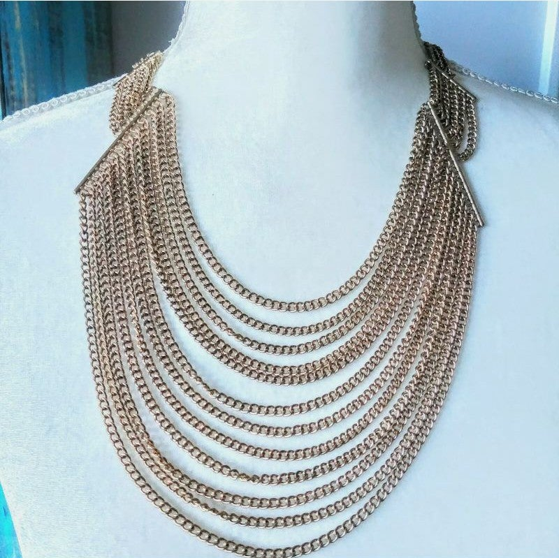 Gold Tone Multistrand Layered Necklace