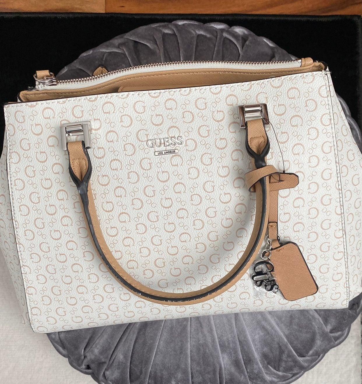GUESS Cream/Tan Handbag & Shoulder Strap