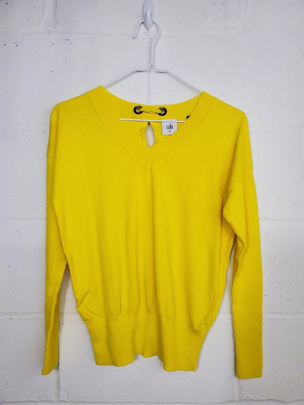 Cabi Canary Yellow Keyhole Sweater - XS