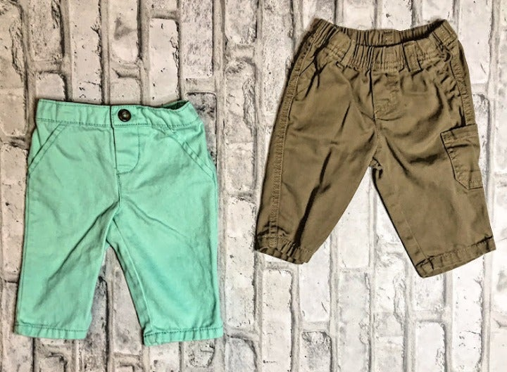 Boys Size 0-3 Month Teal + Brown Pants