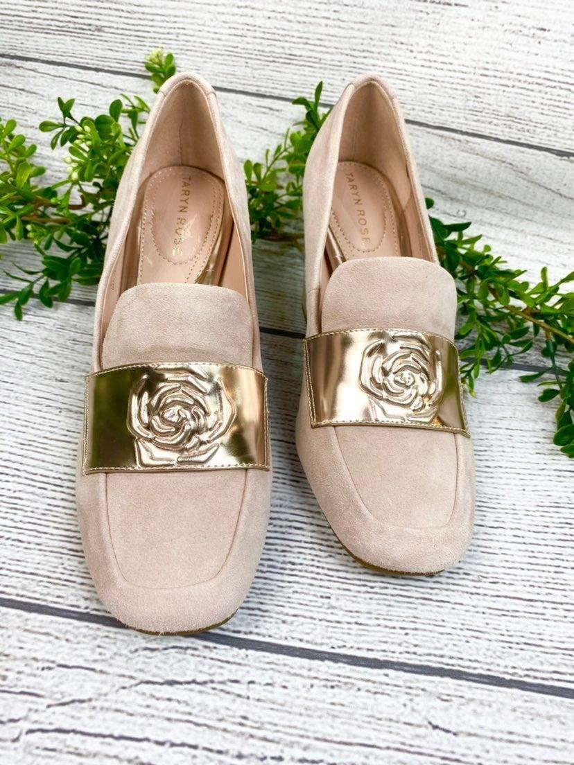NEW Taryn Rose Block Pale Pink Rose Heel