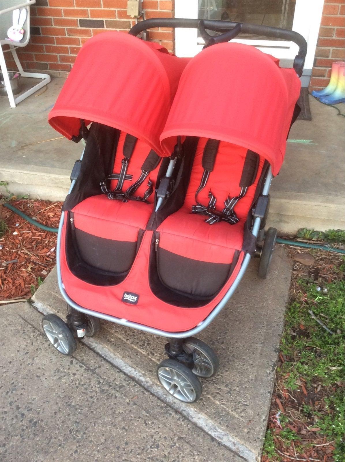 Red Britax B Agile Double Stroller