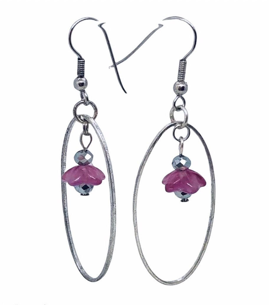 Glass Teardrop Dangle Earrings Pink