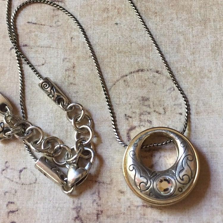 Brighton 2 tone circle pendant necklace