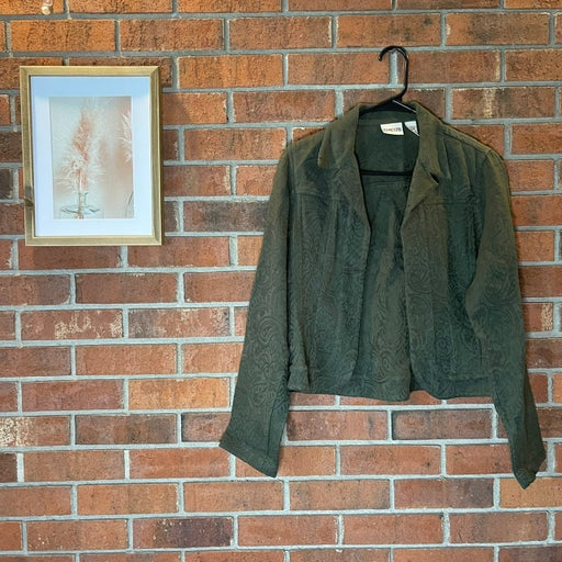 Chico's Green Textured Blazer Jacket