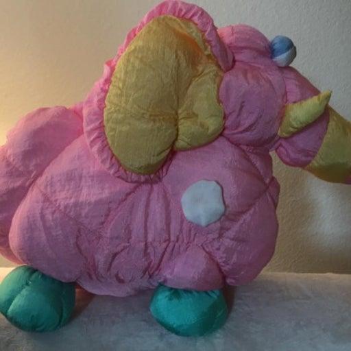 MEGA RARE Prestige Pink Puffalump Nylon Squeaker Plush GREAT CONDITION