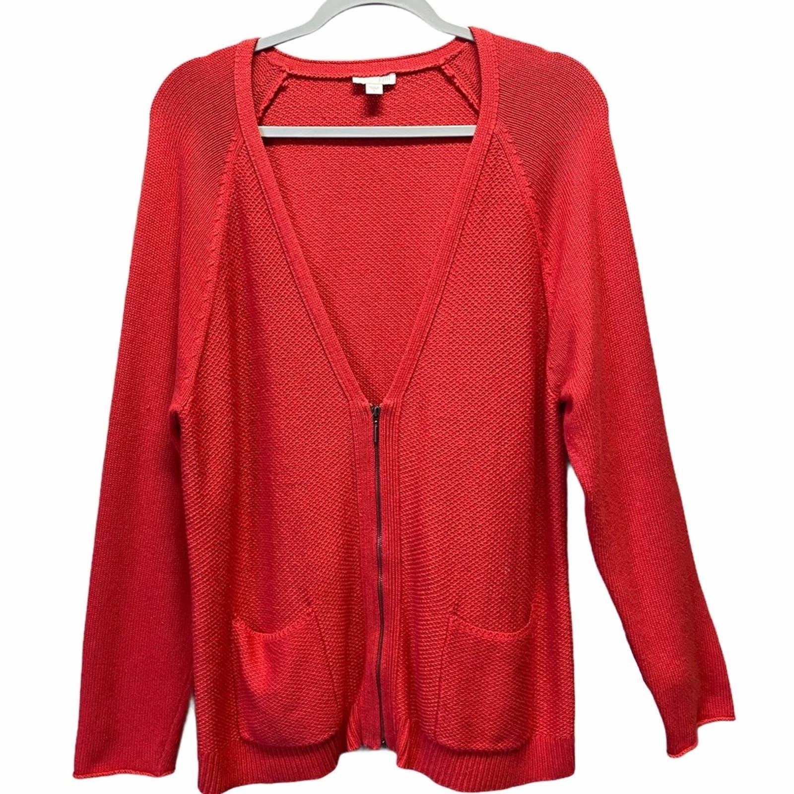 J . Jill Red Knit Cardigan Sweater Sz L