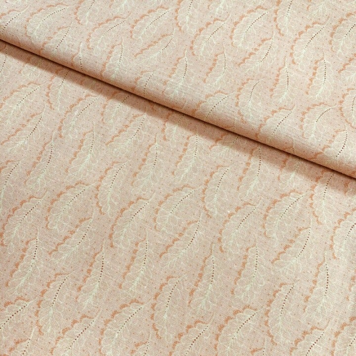 Leaf Fabric Dusty Rose Pink Tone on Tone by Classic Cottons, 100% Cotton, 1 Yard