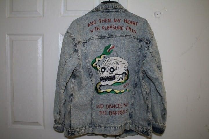 GUCCI Heart-Appliqué Skull Denim Jacket