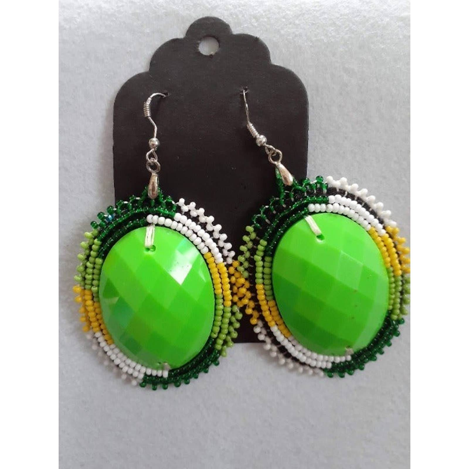 Handmade Green Bead Applique Earrings