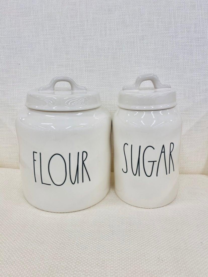 rae dunn flour and sugar canisters