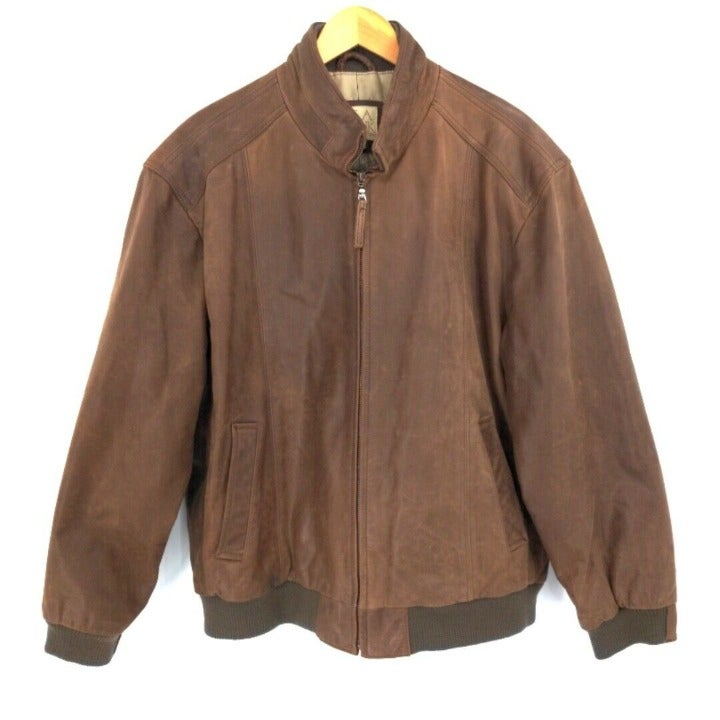 Jos A Bank Leather Jacket Mens XL Brown