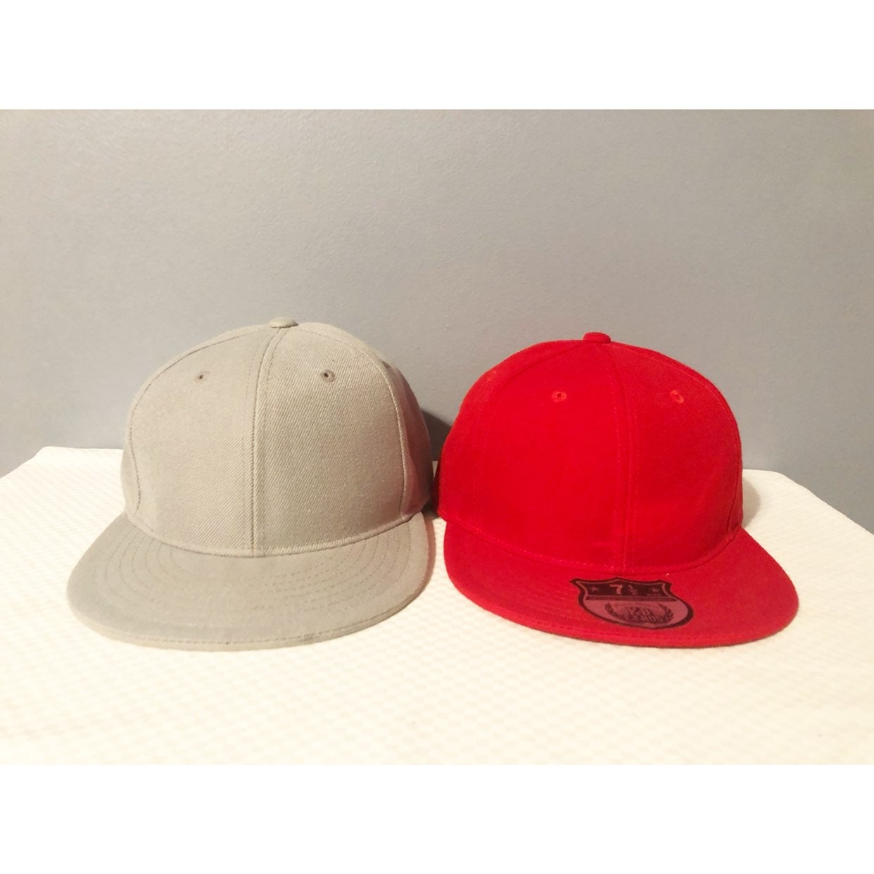 2 XL (7 1/2) Fitted Caps, Red & Grey