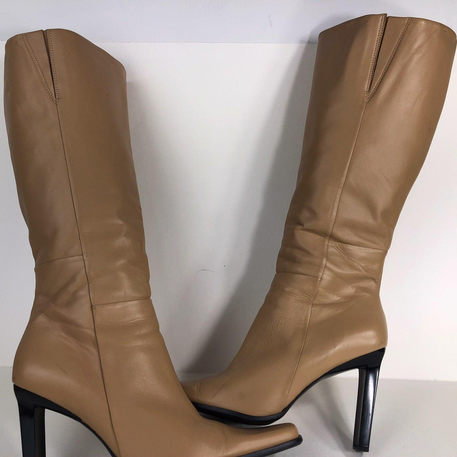 "BRONX-SZ-9M-Knee high leather 4"" boots"
