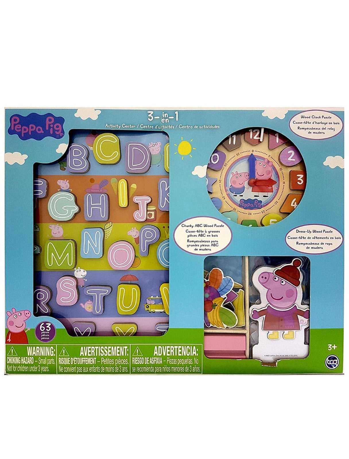 NEW PEPPA PIG WOODEN 3in1 ACTIVITY SET
