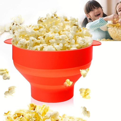 Silicone popcorn popper bowl with lid