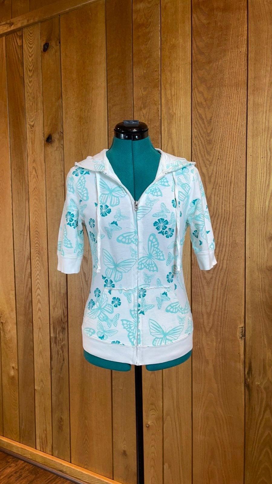 Turquoise Short Sleeve Zip Up Hoodie S