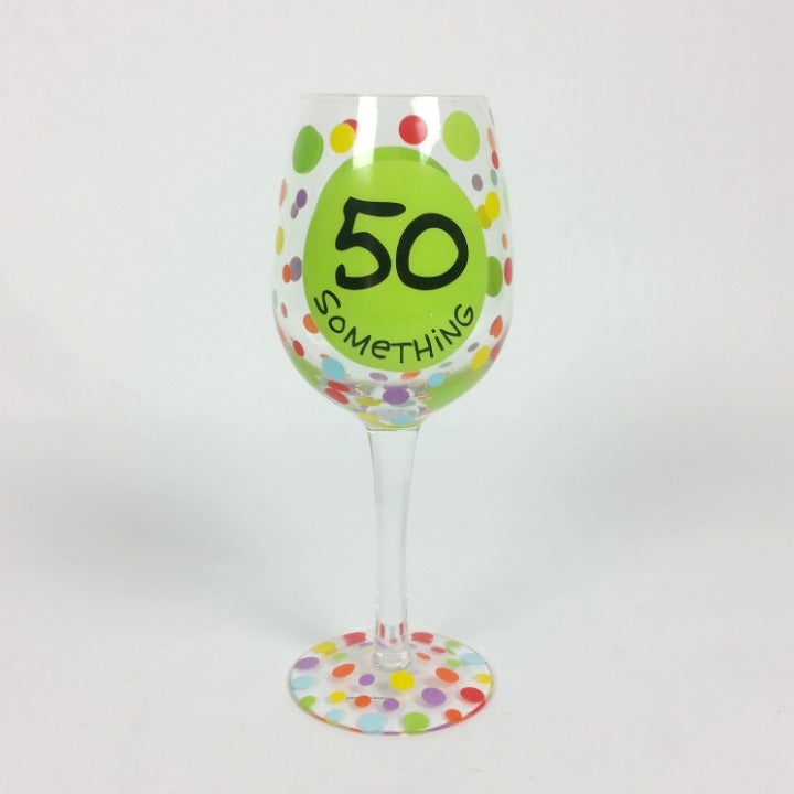 Birthday Wine Glass 50 Spit on the Hill
