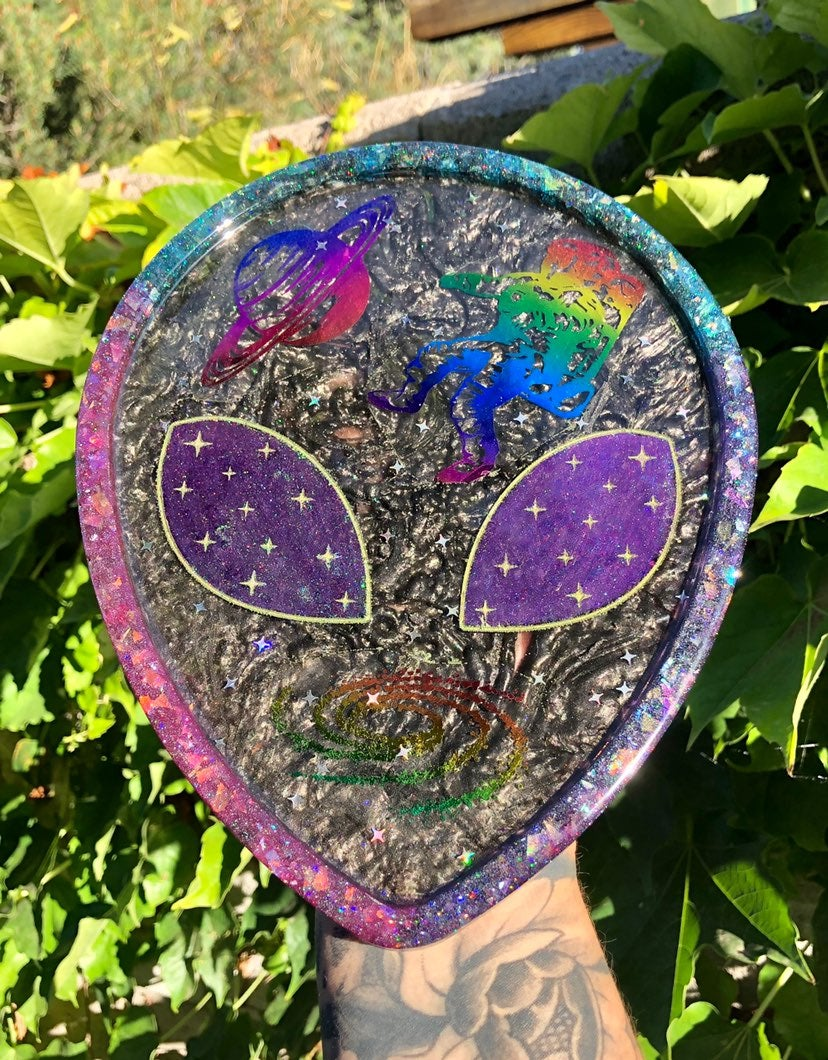 Rainbow galaxy alien head tray