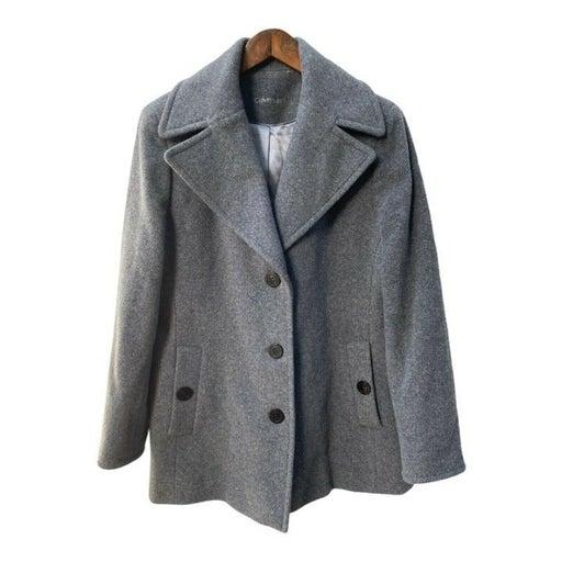 CALVIN KLEIN Wool Coat Peacoat Womens Size M (Est) Gray