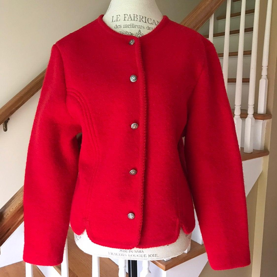 Carroll Reed Red Wool Cardigan Sweater 1