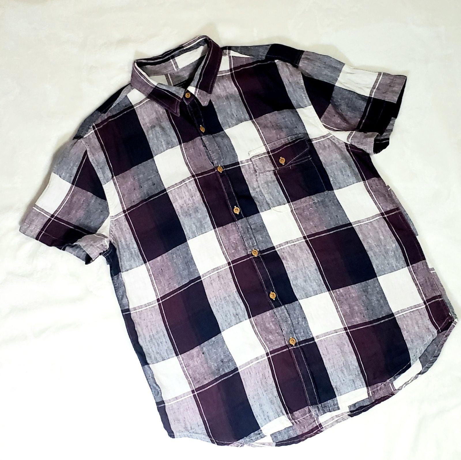 Lucky Brand Linen Plaid Shirt Size L