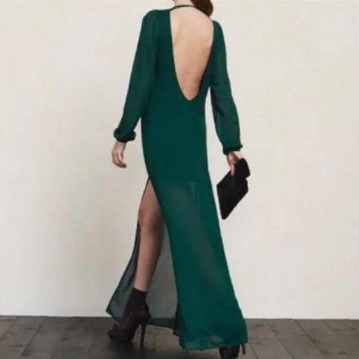 Reformation Sand Night Out Maxi Dress in Emerald