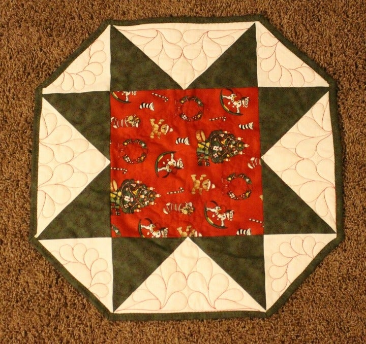 Christmas Themed Octagon Table Quilt