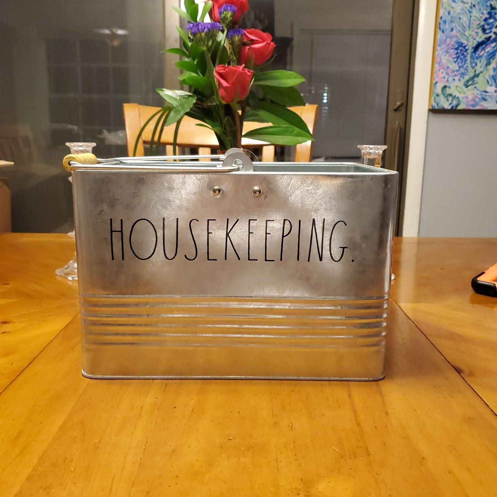 Rae Dunn housekeeping tin