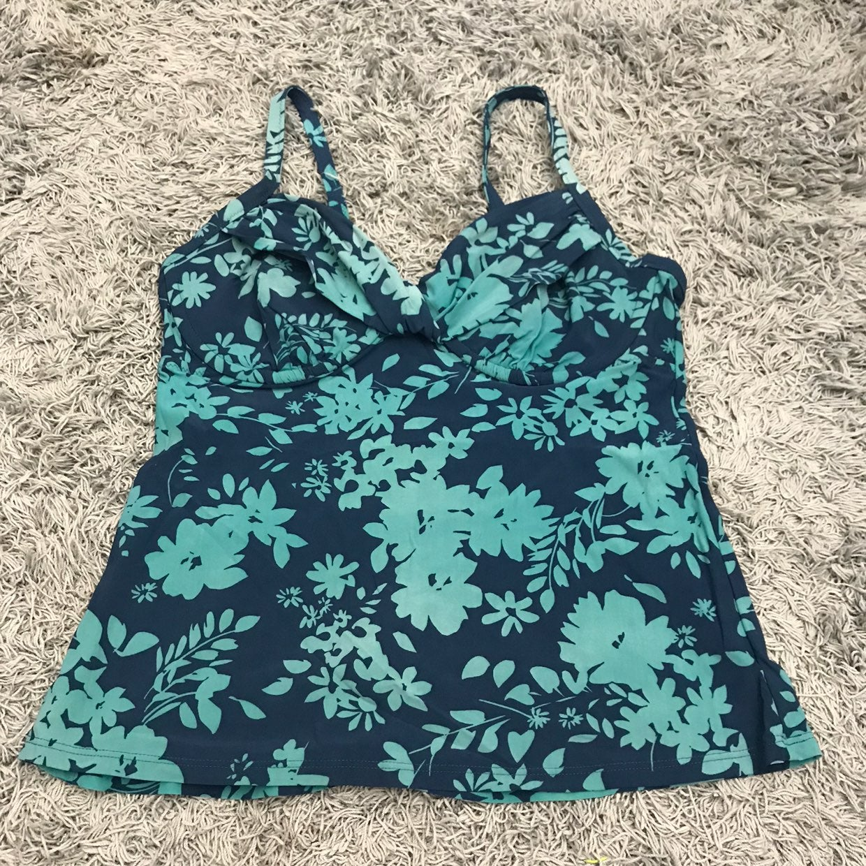 Land's End Floral Tankini Top Dark Teal,