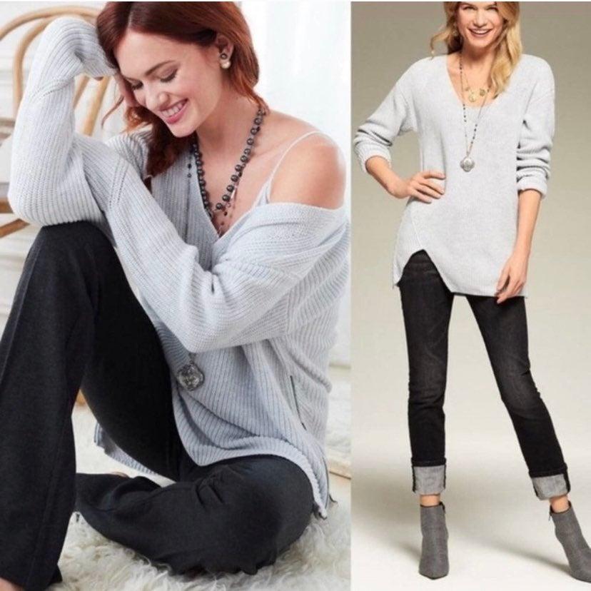 CAbi Deep V-Neck Side Zip Gray Sweater S