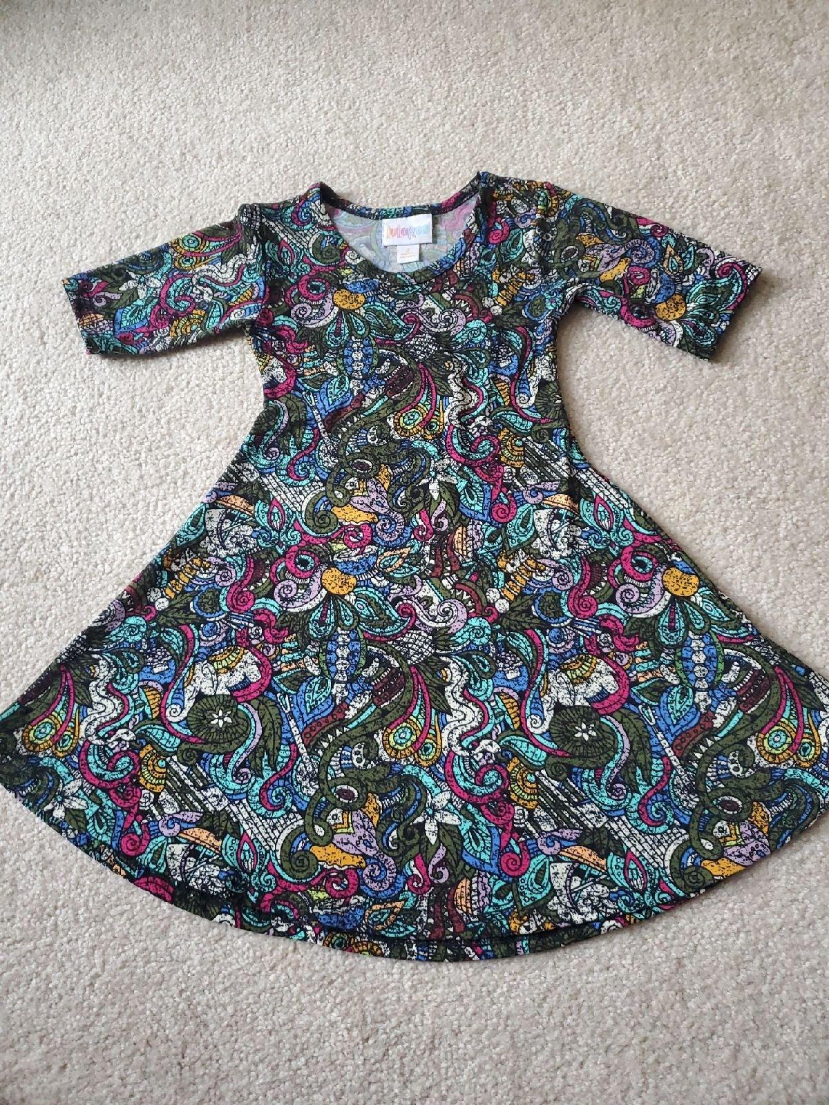 LuLaRoe Scarlett Dress size 2 Teal Geo