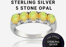 Sterling Silver Opal 5-stone Band Ring 8
