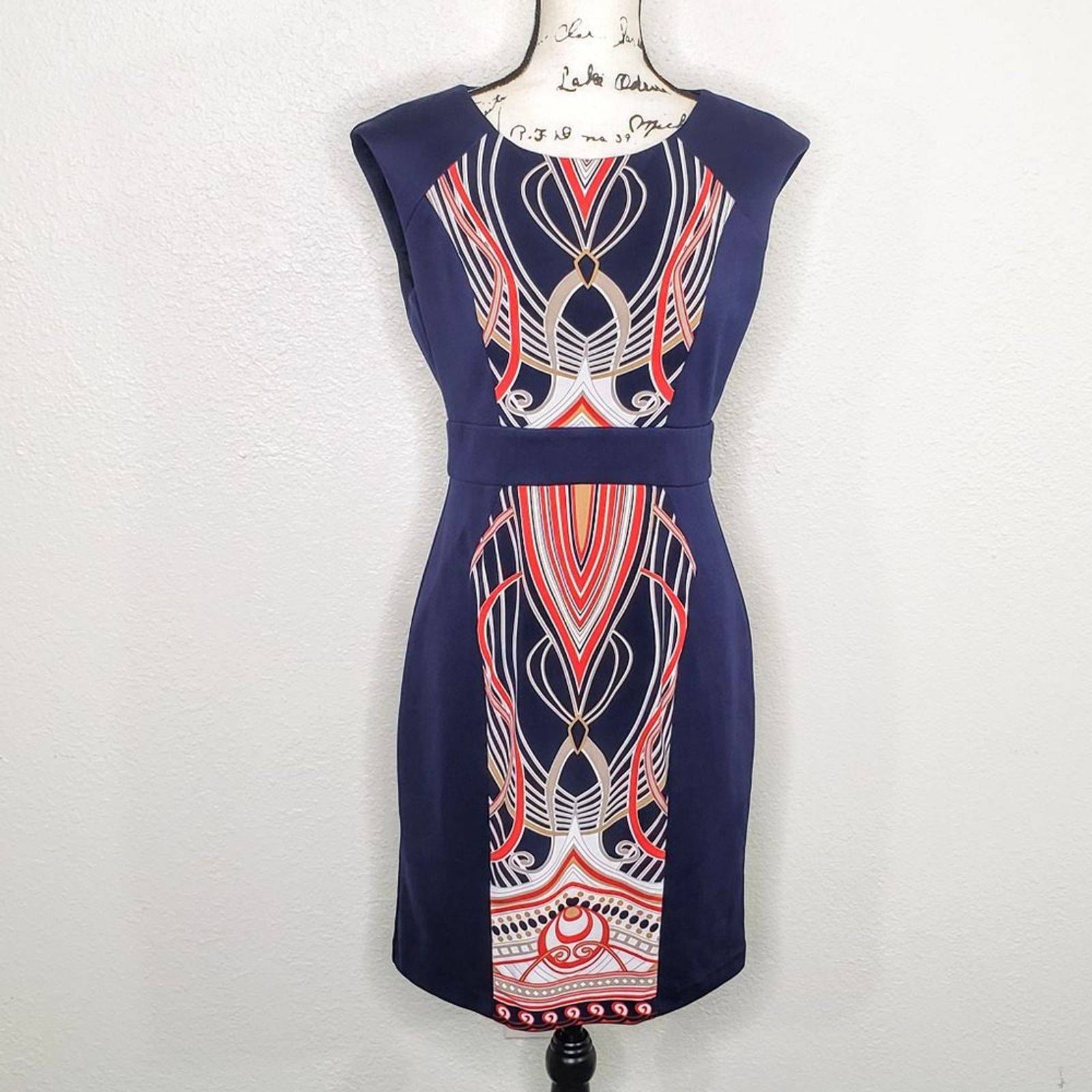 Studio One Navy Blue Sheath Dress Size 6