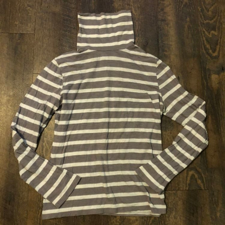 Garnet Hill Gray Striped Turtleneck Top