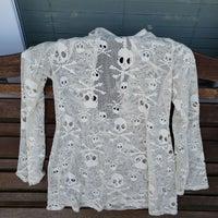 367315006108b Skull Long Sleeve Fishnet Style Shirt