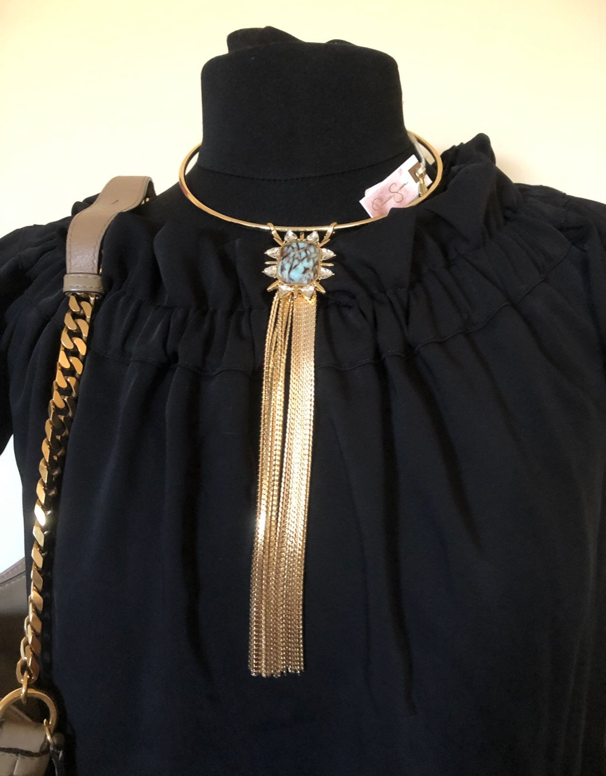 new jessica simpson necklace gold turquo