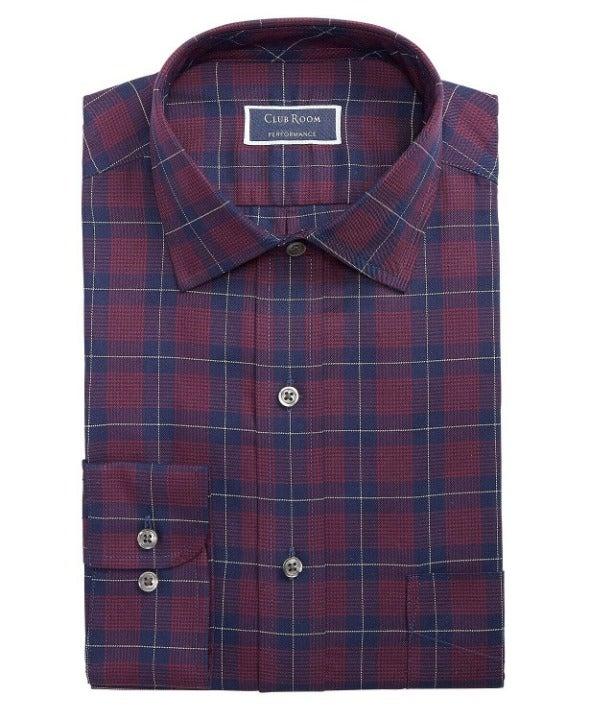 Men's Classic Fit Stretch Plaid Shirt M