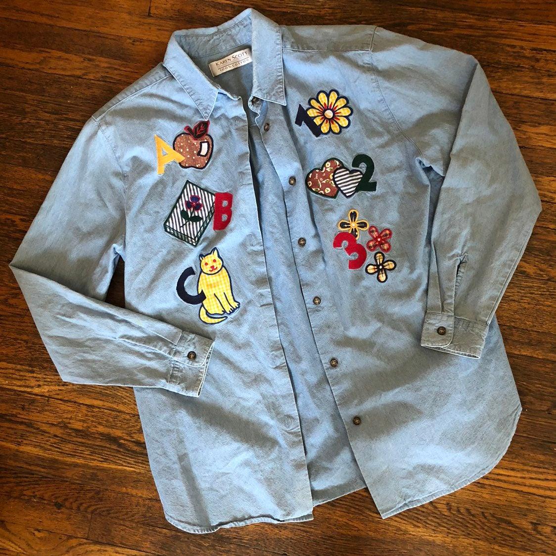 Vtg Karen Scott Embroidered Denim Shirt