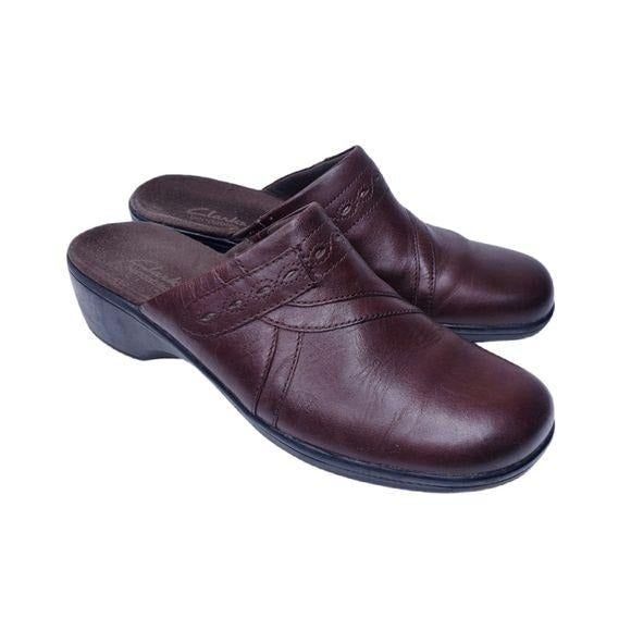 Clarks May Ginger Brown Leather Mules 8
