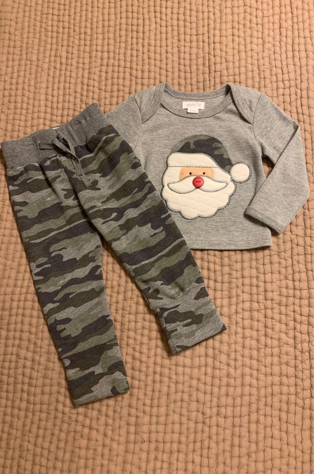 Mud Pie Camo Santa Outfit 0-6 mo