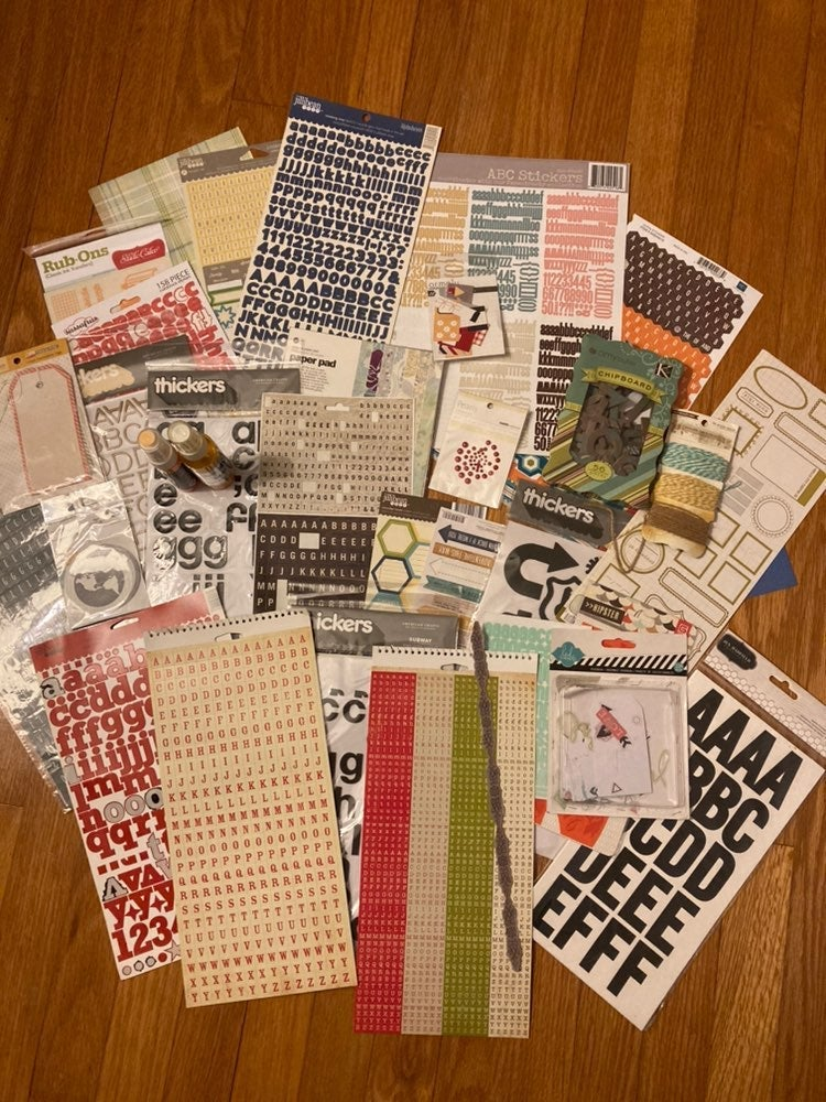 Lot of scrapbooking supplies — stickers,