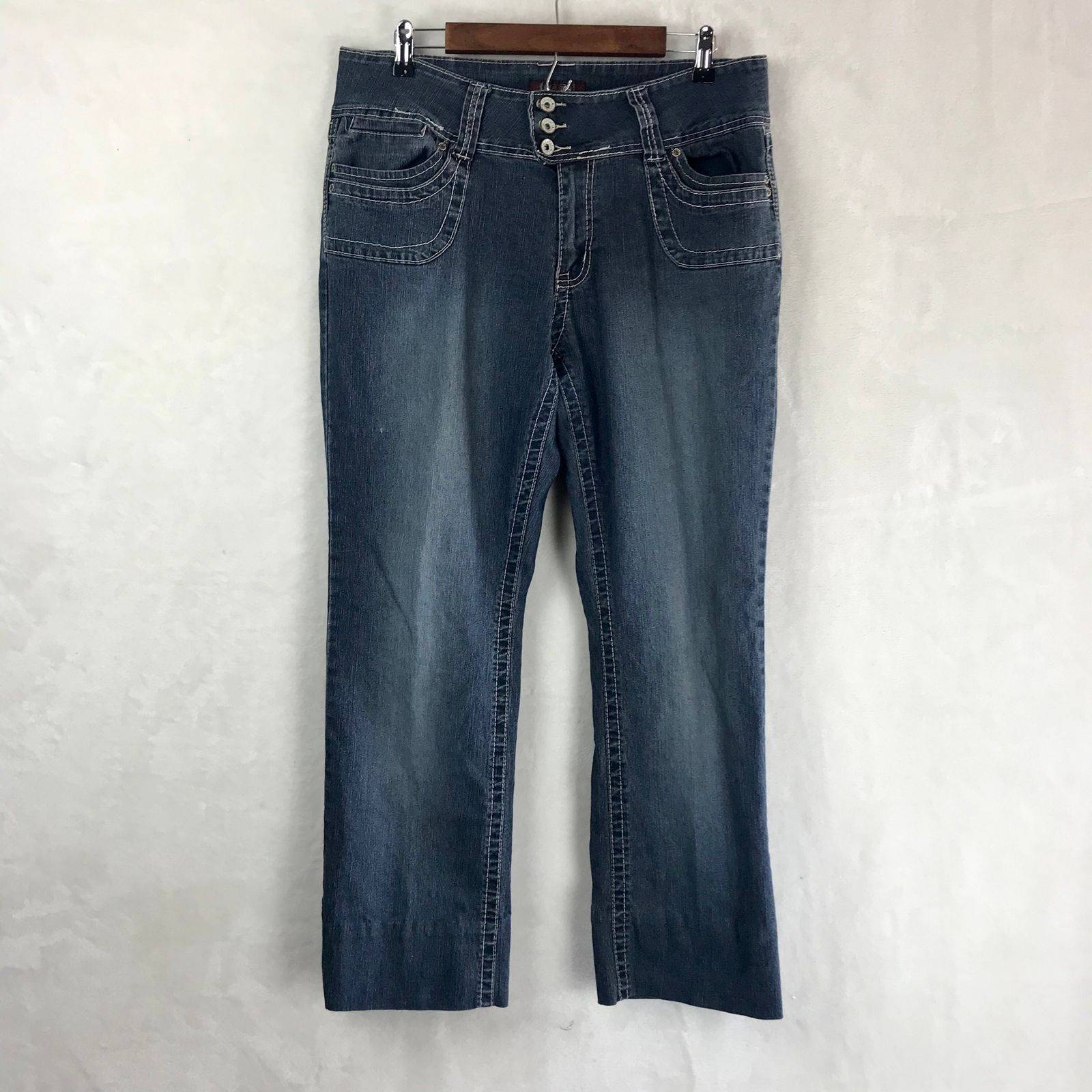 Angels Boot-Cut Zip/Button Closure Jeans
